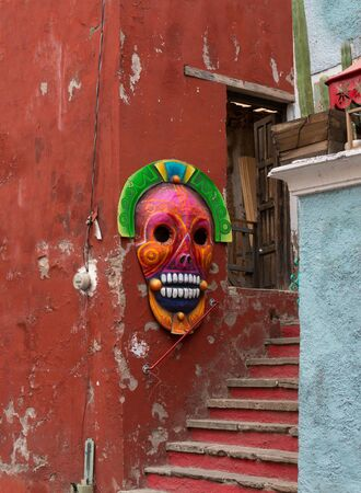 Calavera Skull decoration on Mexican Souvenir Shop in Guanajuato Mexico.