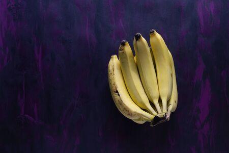 Bananas Fresh Fruit on Purple Hand Painted Canvas