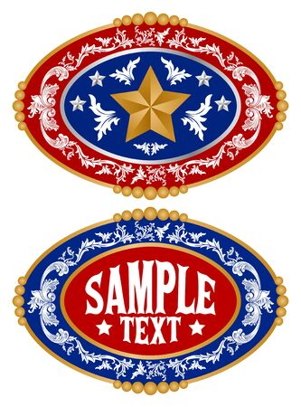 Rodeo Cowboy belt buckle vector design, Sheriff Star Badge. 矢量图像