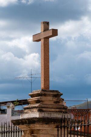 Colonial Stone Cross in Guanajuato Mexico.