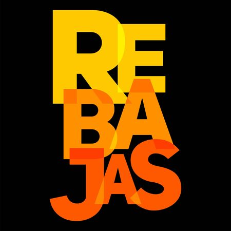 Rebajas, Discounts Spanish text, Sale vector Emblem.