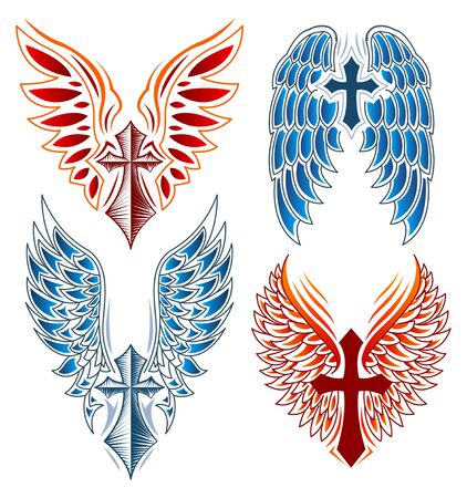 Cross and Wings vector set, Heraldry Tattoo Style elements. Stock Illustratie