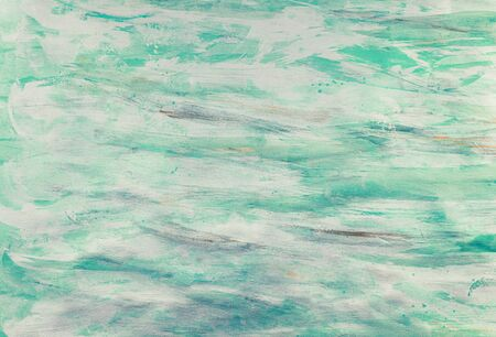Turquoise Green Color Paint Strokes on Canvas Surface.