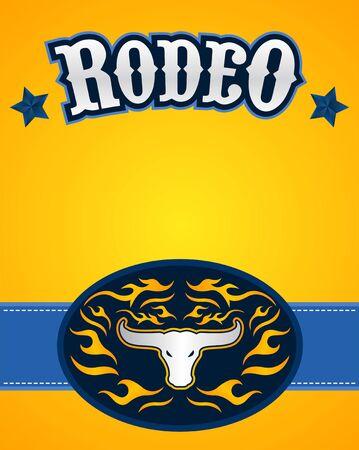 Rodeo Poster vector Design Bull Head emblem.