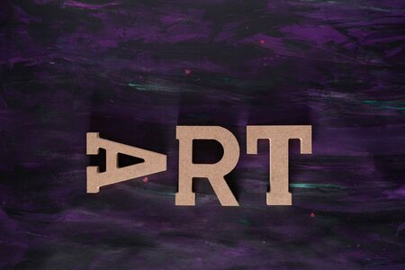 Art Word made with Wooden letters on Hand painted Canvas.