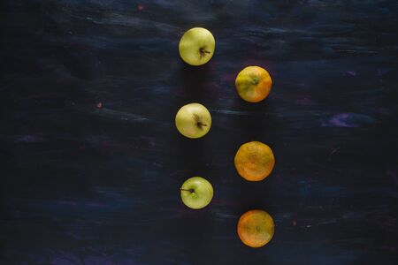 Mandarin Orange and Apples Fresh Fruit on Hand Painted Canvas Stok Fotoğraf