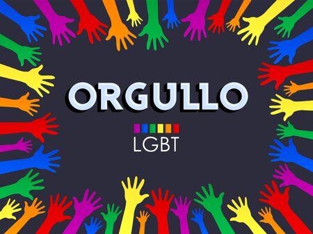 Orgullo, Pride Spanish text LGBT Support vector banner Design.