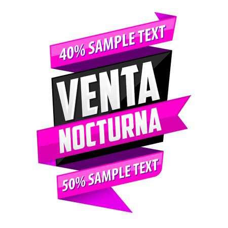 Venta Nocturna, Night Sale spanish text, vector modern colorful banner.