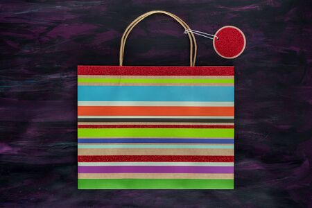 Striped Shopping Bag and label on Painted Canvas.