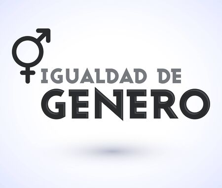 Igualdad de Genero, Gender Equality Spanish text, vector emblem design.