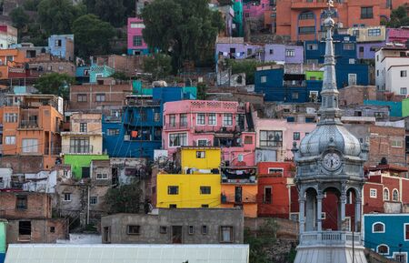 Colorful View of the city of Guanajuato, Mexico, Houses on a Mountain. Stock Photo