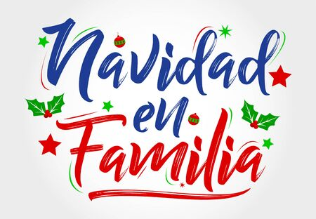 Navidad en Familia, Christmas in Family, spanish text lettering vector Banque d'images - 136323738