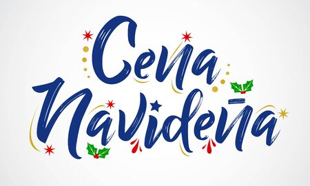 Cena Navidena, Christmas Dinner spanish text, vector design.