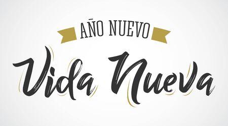 Ano Nuevo Vida Nueva, New Year New Life Spanish Text Vector Design.