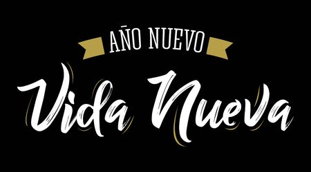 Ano Nuevo Vida Nueva, New Year New Life Spanish Text Vector Design. Banque d'images - 136325628