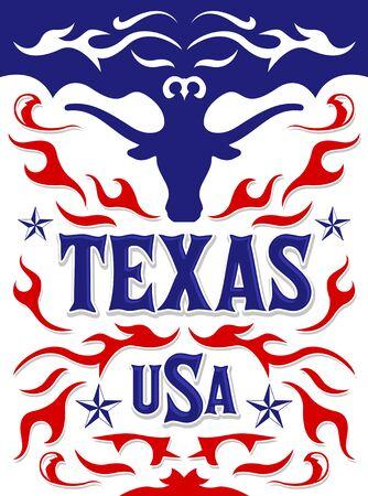 Texas Western Style Design, Longhorn Bull American Theme illustration.