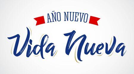 Ano Nuevo Vida Nueva, New Year New Life Spanish Text Vector Design. Banque d'images - 136382315