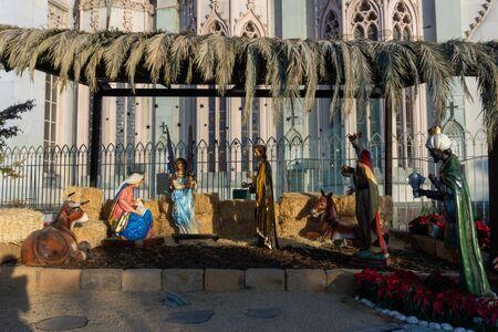 Nativity Scene in a Traditional Mexican house Garden. Stockfoto