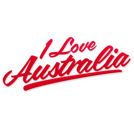 I Love Australia, vector lettering, emblem typographic design.