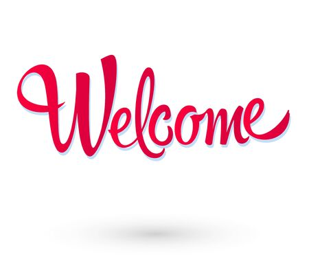 Welcome Hand lettering vector illustration design. Иллюстрация