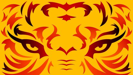 Tiger Eyes Abstract Beast Tatto style tribal vector illustration.
