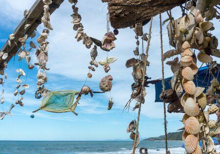 Sea Shells and Mandala in Sayulita Mexico Beach. Stockfoto