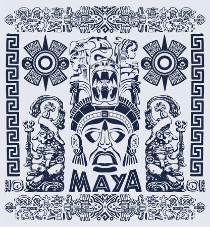 Illustration vectorielle de Maya Aztec Motifs Concept, Style Tribal de tatouage.