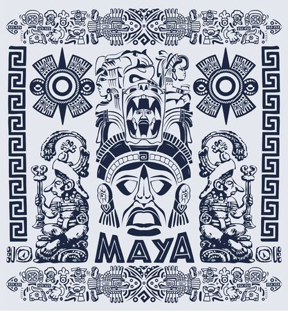 Mayan Aztec Motifs Concept vector illustration, Tattoo Tribal Style.
