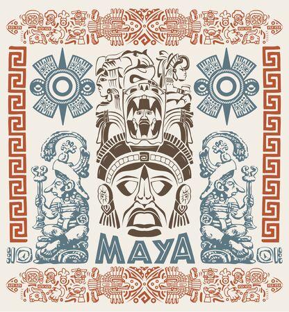 Ilustración de vector de concepto de motivos aztecas mayas, estilo tribal del tatuaje.