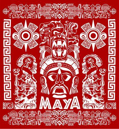 Mayan Aztec Motifs Concept vector illustration, Tattoo Tribal Style. Stock Illustratie
