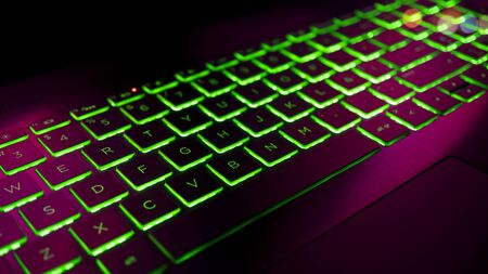 Gamer Keyboard colorful RGB lights, Gamming PC Computer. Stockfoto