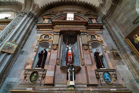 Interior of a Catholic Church in Guanajuato Mexico.