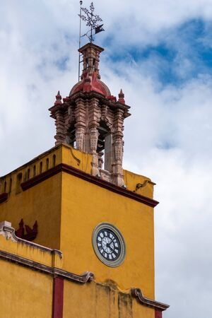 Mexican Colonial Traditional Bell Tower Church in Guanajuato Mexico.