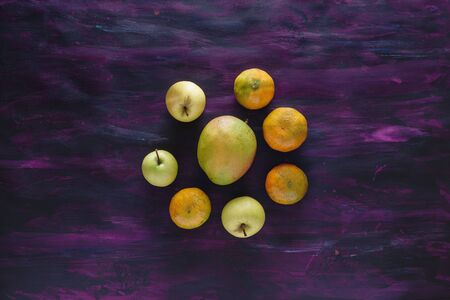 Tangerines, Apples and Mango Fresh Fruit on Hand Painted Canvas.