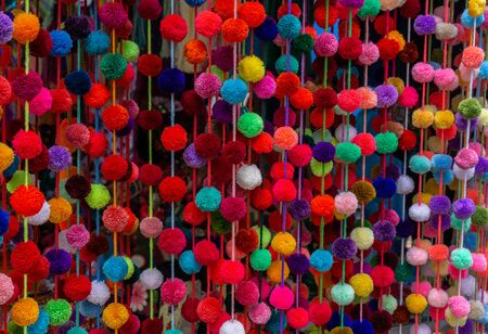 Decorative Stamen Balls in Mexican Mercado. Stock Photo