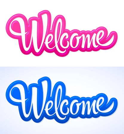 Welcome Hand lettering vector illustration design.