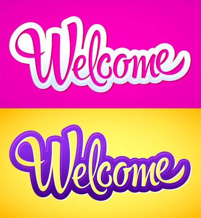Welcome Hand lettering vector illustration design.