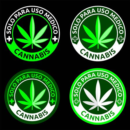 Cannabis, Solo para uso Medico, Only for Medical use spanish text, Medical Marijuana emblem.