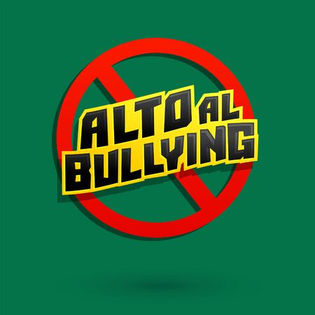 Alto al Bullying, Stop Bullying spanish text vector design.