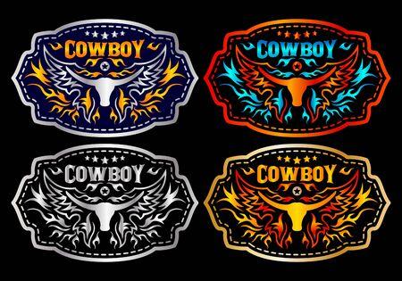Western Style Cowboy Bull Gürtelschnalle Vektor-Set-Design. Vektorgrafik