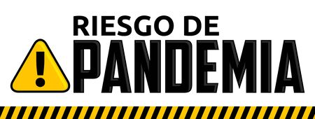 Riesgo de Pandemia, Pandemic Risk Spanish text Vector design. Stock Illustratie