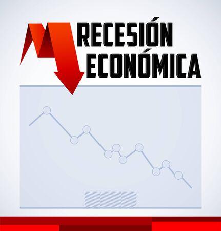 Recesion Economica, Economic Recession in Spanish text vector design.