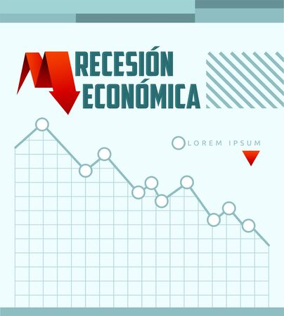 Recesion Economica, Economic Recession Spanish text vector design.