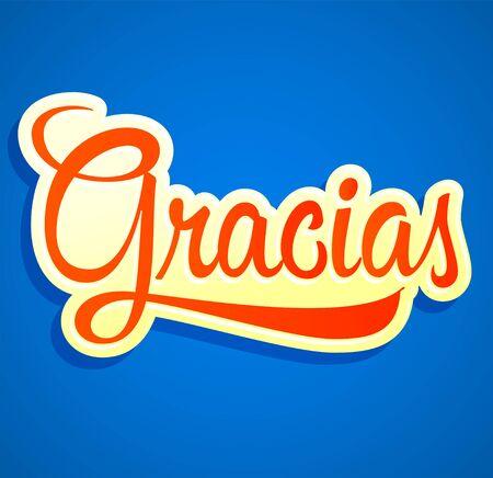 Gracias Thank you Spanish text vector design.