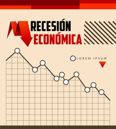 Recesion Economica, Economic Recession Spanish text vector design. 일러스트