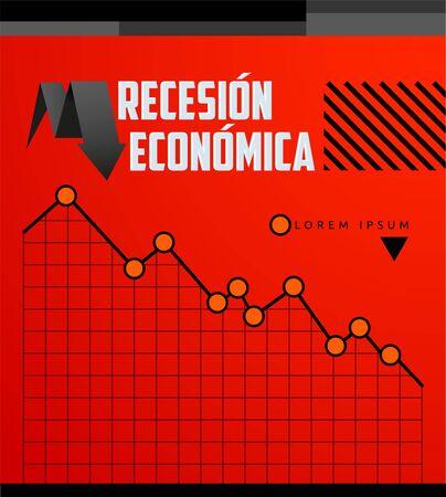 Recesion Economica, Economic Recession Spanish text vector design. Иллюстрация
