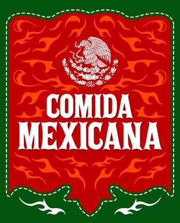 Comida Mexicana, Mexican Food spanish text Menu and Sign illustration