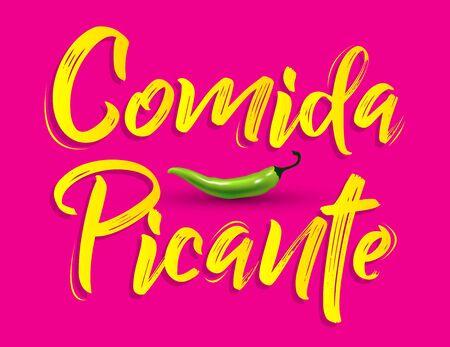Comida Picante, Spicy Food Vector design. Illustration