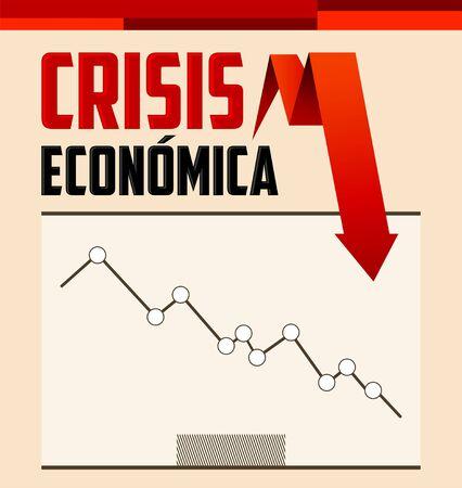 Crisis Economica, Economic Crisis Spanish text vector design.