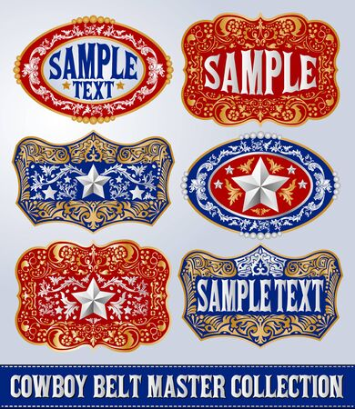 Western Style Cowboy Belt Buckle Label Master Collection Set.